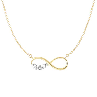 Infinity Mom Necklace In 14 Karat Yellow Gold, 17 Inches