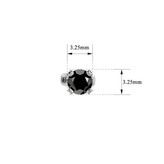1/3ct Black Diamond Stud Earrings In White Gold