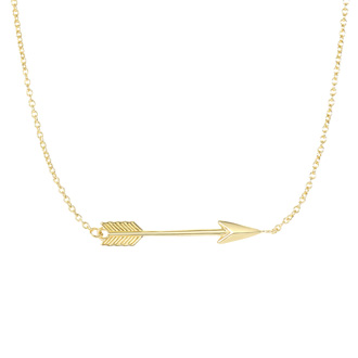 14 Karat Yellow Gold 30mm 18 Inch Sideways Arrow Necklace