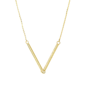 14 Karat Yellow Gold 25mm 18 Inch Double Textured Sideways Cylinder Necklace