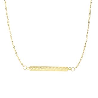 14 Karat Yellow Gold 30.7mm 18 Inch Textured Sideways Cylinder Necklace