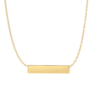 14 Karat Yellow Gold 4.9mm 18 Inch Horizontal Bar Necklace