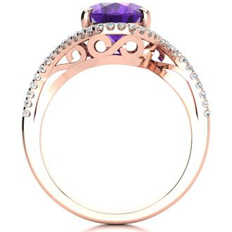 2 1/2 Carat Oval Shape Amethyst and Halo Diamond Ring In 14 Karat Rose Gold