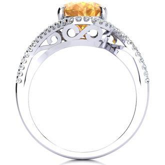 2 1/2 Carat Oval Shape Citrine and Halo Diamond Ring In 14 Karat White Gold