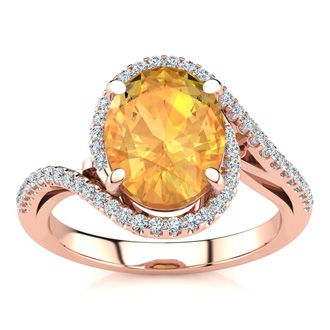 2 1/2 Carat Oval Shape Citrine and Halo Diamond Ring In 14 Karat Rose Gold