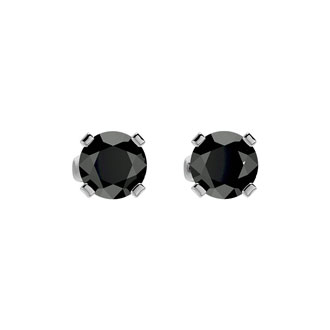 1/2ct Black Diamond Stud Earrings in 14k White Gold