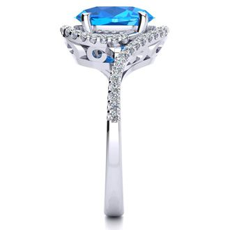 3 1/2 Carat Oval Shape Blue Topaz and Halo Diamond Ring In 14 Karat White Gold