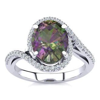 2 1/2 Carat Oval Shape Mystic Topaz and Halo Diamond Ring In 14 Karat White Gold