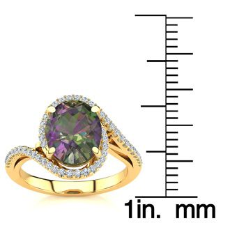 2 1/2 Carat Oval Shape Mystic Topaz and Halo Diamond Ring In 14 Karat Yellow Gold