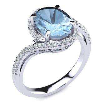 2 1/2 Carat Oval Shape Aquamarine and Halo Diamond Ring In 14 Karat White Gold