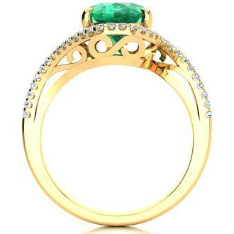 2 1/2 Carat Oval Shape Emerald and Halo Diamond Ring In 14 Karat Yellow Gold