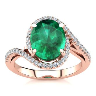 2 1/2 Carat Oval Shape Emerald and Halo Diamond Ring In 14 Karat Rose Gold