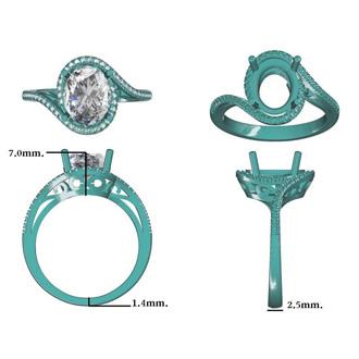 2 3/4 Carat Oval Shape Tanzanite and Halo Diamond Ring In 14 Karat White Gold
