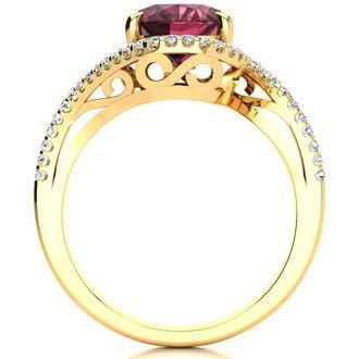 3 1/3 Carat Oval Shape Garnet and Halo Diamond Ring In 14 Karat Yellow Gold