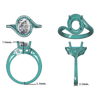2 1/2 Carat Oval Shape Green Amethyst and Halo Diamond Ring In 14 Karat White Gold