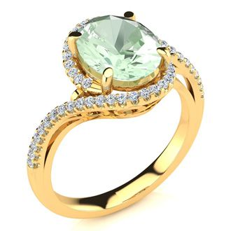 2 1/2 Carat Oval Shape Green Amethyst and Halo Diamond Ring In 14 Karat Yellow Gold