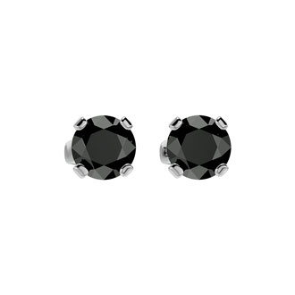 1ct Black Diamond Stud Earrings, 14k White Gold