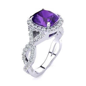 2 1/2 Carat Cushion Cut Amethyst and Halo Diamond Ring With Fancy Band In 14 Karat White Gold