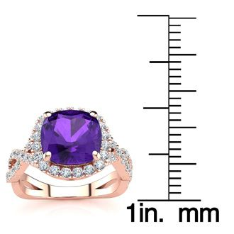 2 1/2 Carat Cushion Cut Amethyst and Halo Diamond Ring With Fancy Band In 14 Karat Rose Gold