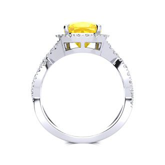 2 1/2 Carat Cushion Cut Citrine and Halo Diamond Ring With Fancy Band In 14 Karat White Gold