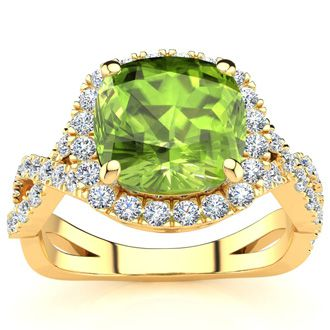 3 Carat Cushion Cut Peridot and Halo Diamond Ring With Fancy Band In 14 Karat Yellow Gold