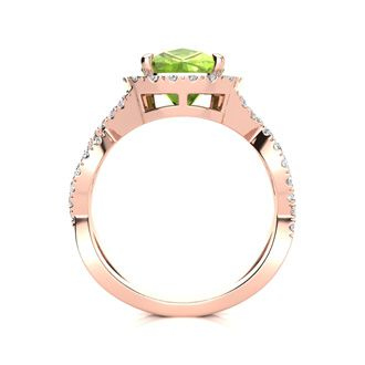 3 Carat Cushion Cut Peridot and Halo Diamond Ring With Fancy Band In 14 Karat Rose Gold