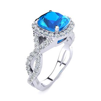 3 Carat Cushion Cut Blue Topaz and Halo Diamond Ring With Fancy Band In 14 Karat White Gold
