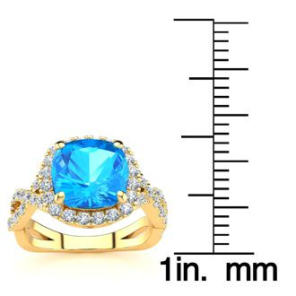 3 Carat Cushion Cut Blue Topaz and Halo Diamond Ring With Fancy Band In 14 Karat Yellow Gold