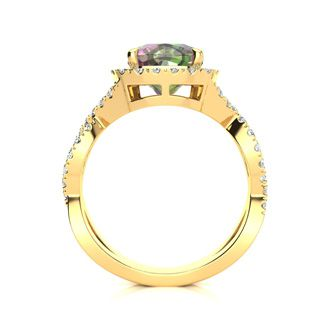 2 1/2 Carat Cushion Cut Mystic Topaz and Halo Diamond Ring With Fancy Band In 14 Karat Yellow Gold