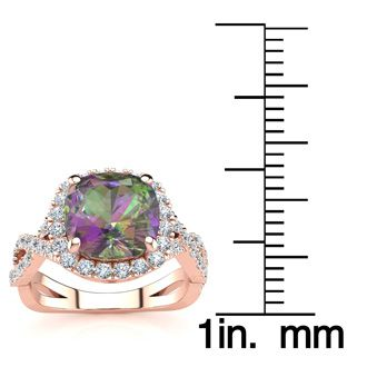 2 1/2 Carat Cushion Cut Mystic Topaz and Halo Diamond Ring With Fancy Band In 14 Karat Rose Gold