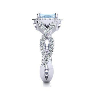 2 1/2 Carat Cushion Cut Aquamarine and Halo Diamond Ring With Fancy Band In 14 Karat White Gold