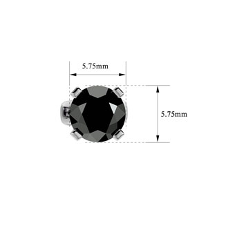 1 1/2ct Black Diamond Stud Earrings, 14k White Gold