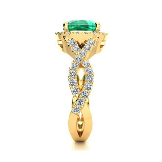 2 1/2 Carat Cushion Cut Emerald and Halo Diamond Ring With Fancy Band In 14 Karat Yellow Gold
