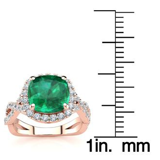 2 1/2 Carat Cushion Cut Emerald and Halo Diamond Ring With Fancy Band In 14 Karat Rose Gold