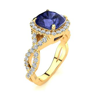 3 Carat Cushion Cut Tanzanite and Halo Diamond Ring With Fancy Band In 14 Karat Yellow Gold