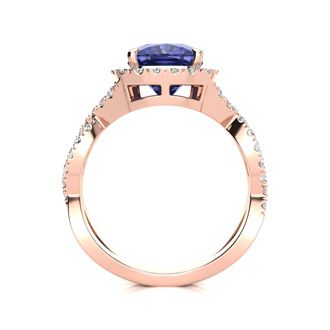 3 Carat Cushion Cut Tanzanite and Halo Diamond Ring With Fancy Band In 14 Karat Rose Gold