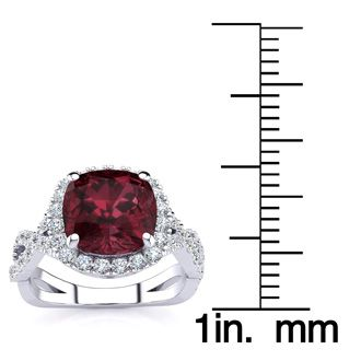 3 3/4 Carat Cushion Cut Garnet and Halo Diamond Ring With Fancy Band In 14 Karat White Gold