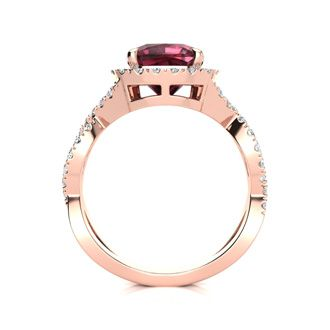 3 3/4 Carat Cushion Cut Garnet and Halo Diamond Ring With Fancy Band In 14 Karat Rose Gold