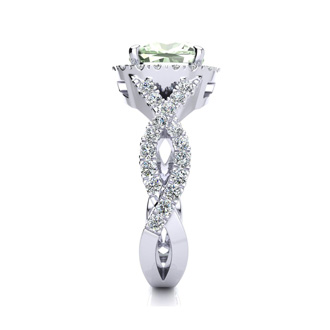 2 1/2 Carat Cushion Cut Green Amethyst and Halo Diamond Ring With Fancy Band In 14 Karat White Gold