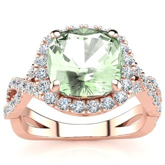 2 1/2 Carat Cushion Cut Green Amethyst and Halo Diamond Ring With Fancy Band In 14 Karat Rose Gold
