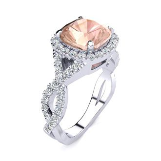 2 1/2 Carat Cushion Cut Morganite and Halo Diamond Ring With Fancy Band In 14 Karat White Gold