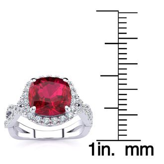 3 1/2 Carat Cushion Cut Ruby and Halo Diamond Ring With Fancy Band In 14 Karat White Gold