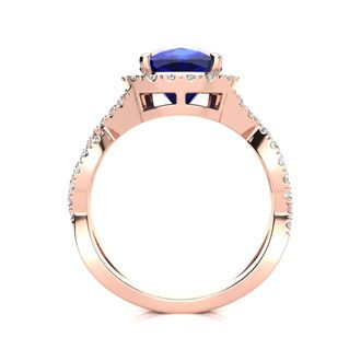 3 1/2 Carat Cushion Cut Sapphire and Halo Diamond Ring With Fancy Band In 14 Karat Rose Gold