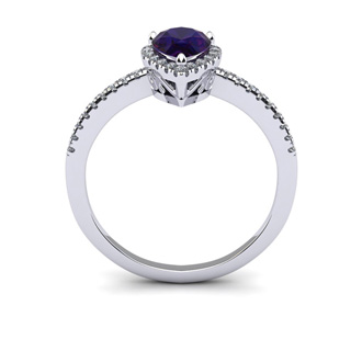 3/4 Carat Pear Shape Amethyst and Halo Diamond Ring In 14 Karat White Gold