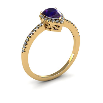 3/4 Carat Pear Shape Amethyst and Halo Diamond Ring In 14 Karat Yellow Gold