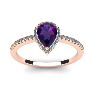 3/4 Carat Pear Shape Amethyst and Halo Diamond Ring In 14 Karat Rose Gold