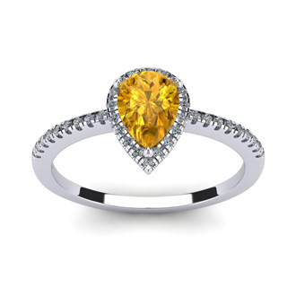 3/4 Carat Pear Shape Citrine and Halo Diamond Ring In 14 Karat White Gold