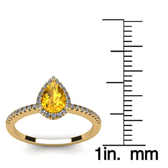 3/4 Carat Pear Shape Citrine and Halo Diamond Ring In 14 Karat Yellow Gold