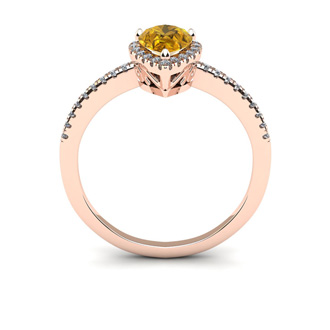 3/4 Carat Pear Shape Citrine and Halo Diamond Ring In 14 Karat Rose Gold