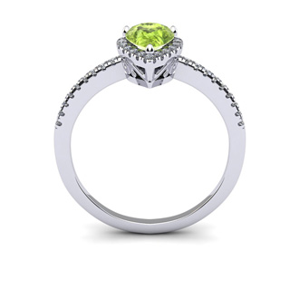 1 Carat Pear Shape Peridot and Halo Diamond Ring In 14 Karat White Gold